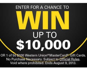 Western Union Win 10000 Cash Sweepstakes
