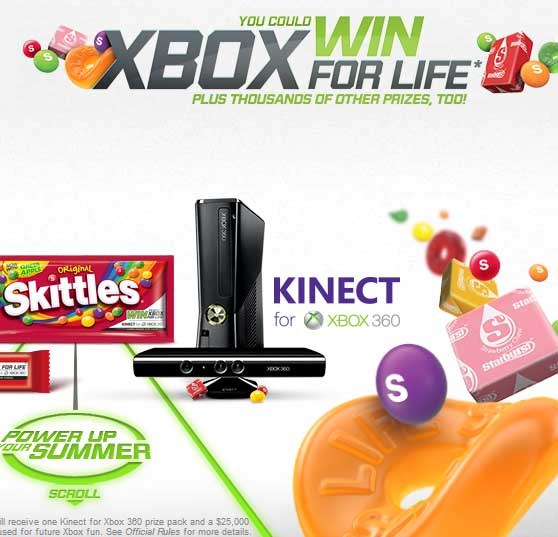win 25 thousand Cash xbox for Life Skittles Sweepstakes