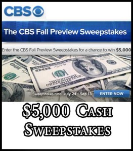 CBS Win 5000 Cash Sweepstakes