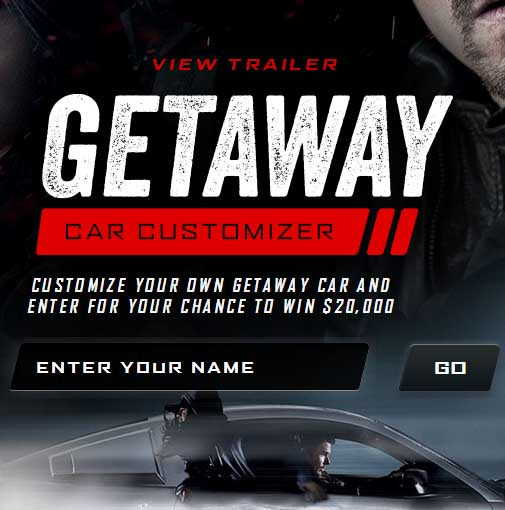 Cash Giveaway Car Getaway Customizer Warner Bros Sweepstakes