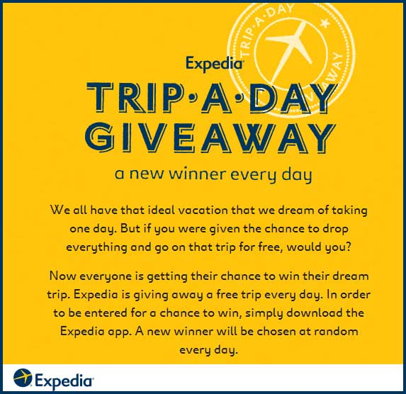 Expedia App Win a Trip a Day Giveaway Free Flight