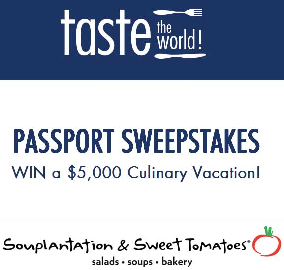 Win Cash 5000 and Instant Win Game by Souplantation and Sweet Tomatoes