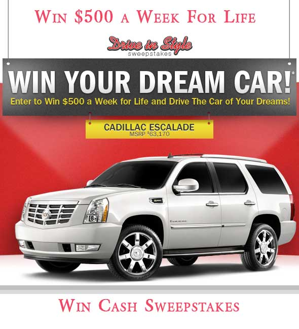 Win 500 A Week Cash For Life Win A Car Sweepstakes 2013 Sweeps