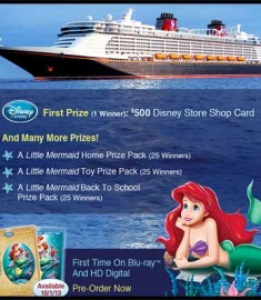 Disney Sweepstakes Contest Win a Trip Win a Cruise Little Mermaid Sweeps
