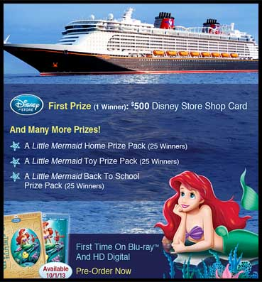 Disney Sweepstakes Contest Win a Trip Win a Cruise Little Mermaid