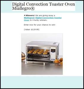 Free Toaster Oven Miallegro Sweepstakes