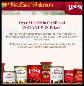 Lindsay Mealtime 2500 Cash grand prize sweepstakes
