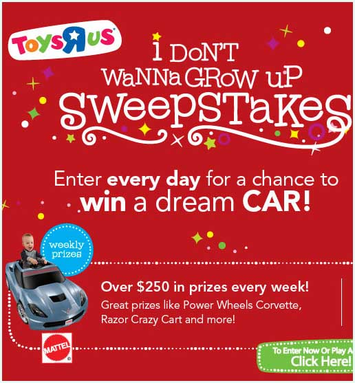 Toy Win Corvette Sweepstakes Sweeps Maniac