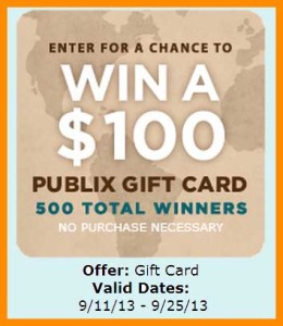 Win 100 Dollar Publix Gift Card Sweepstakes
