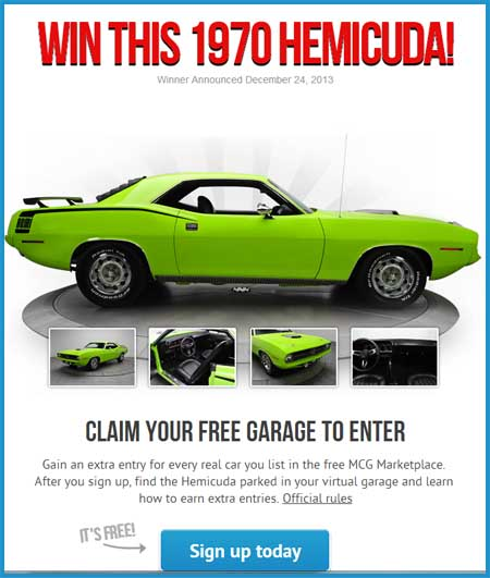 win a 1970 hemicuda free car garage sweepstakes. Black Bedroom Furniture Sets. Home Design Ideas