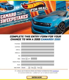 Win a Camaro 2SS Hot Wheels Car Sweepstakes