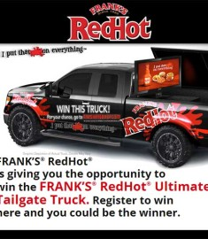 Win a Truck Franks Redhot Tailgate Truck Sweepstakes