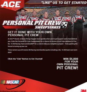 Ace Nascar 3m Personal Pit Crew Sweepstakes 5 Grand