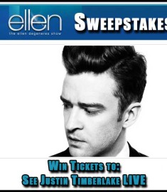 Ellen Degenerous Sweepstakes See Justin Timberlake Live