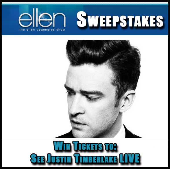 win justin timberlake tickets ellen degeneres sweepstakes sweeps maniac. Black Bedroom Furniture Sets. Home Design Ideas