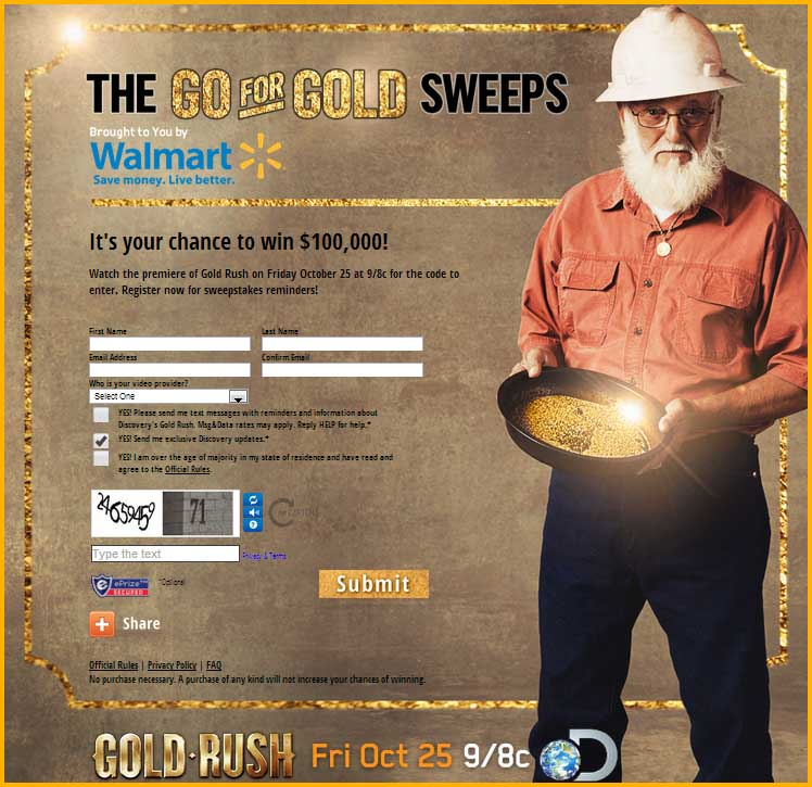 Gold rush giveaways