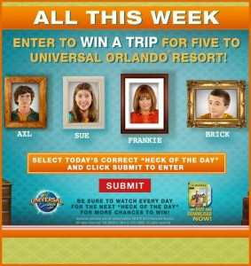 Win a Trip to Universal Orlando The Middle Gotta Get Away Sweepstakes