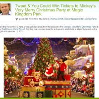 Disney Sweepstakes Tweet Mickey's Very Merry Christmas Party at Magic Kingdom