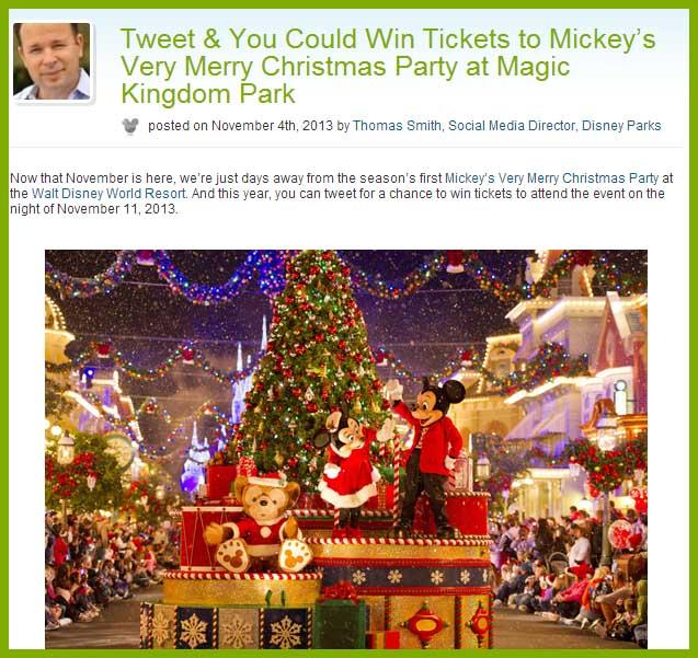 tweet and win disney tickets very merry christmas party - Disney Christmas Party Tickets