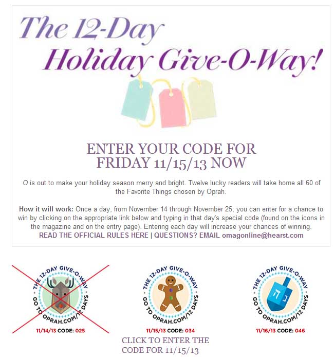 the 12 day holiday give-o-way oprah sweepstakes - sweeps maniac