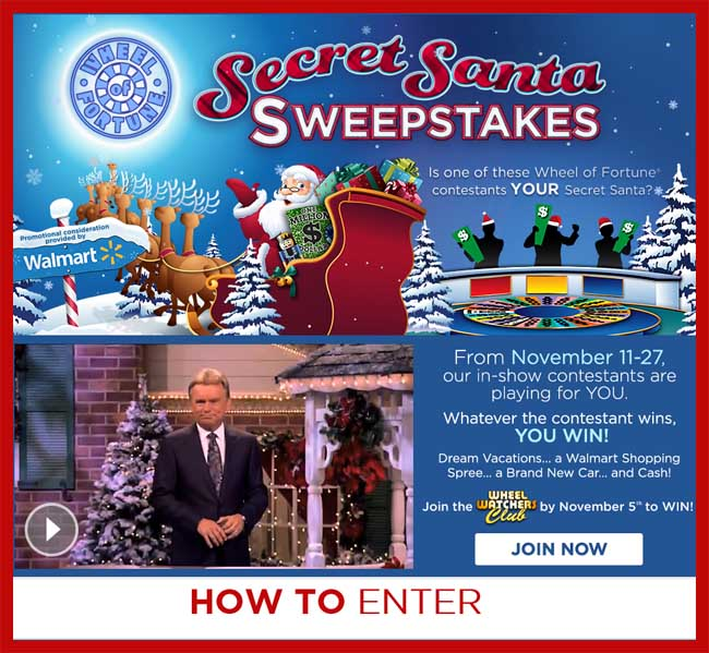 Secret Santa Wheel of Fortune sweepstakes - Sweeps Maniac