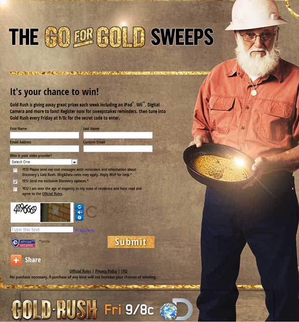 Discovery channel gold rush giveaways