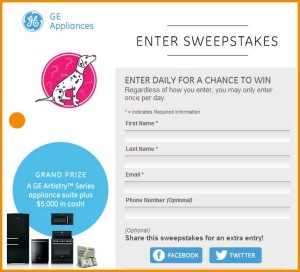 Win GE Kitchen Appliance Package and 5 Grand Cash Sweepstakes (1)
