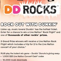 Win a Live Nation Trip Dunkin Donuts Giveaway