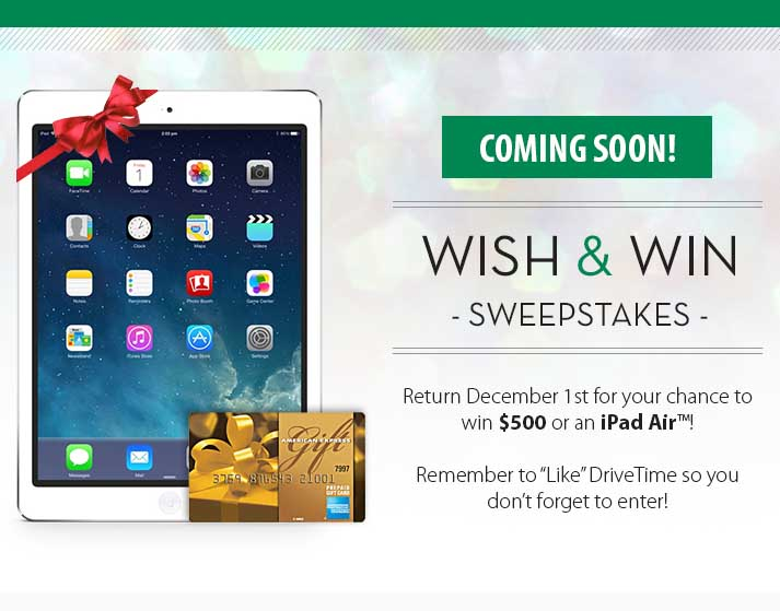 Win an iPad air Drivetime Wish and Win Sweepstakes - Sweeps Maniac