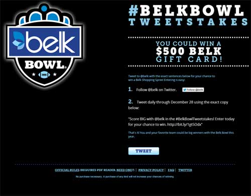 Win a $500 Belk gift card Belkbowl Tweetstakes - Sweeps Maniac