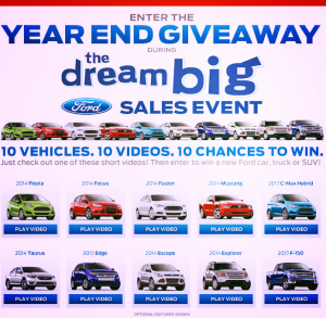 Ford Sweepstakes Year End Giveaway Win a new ford Car Truck or SUV (1)