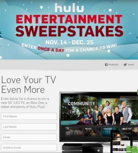 Hulu Entertainment Daily Sweepstakes Win an LED TV Xbox One and Tablet