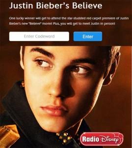 Justin Biebers Believe Codeword Premiere Sweepstakes