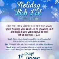NEWEGG Holiday Wish List Photo Contest 10k Gift Card
