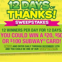Subway 12 days of Thanks Sweepstakes Gift Card Giveaway