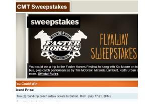 CMT Flyaway sweepstakes 2014