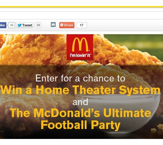 McDonald's Ultimate Football Party win a home theater system