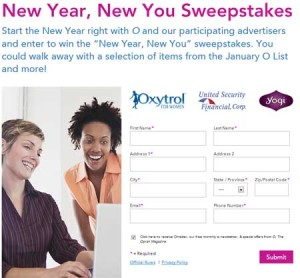 Oprah Magazine Sweepstakes New Year 2014