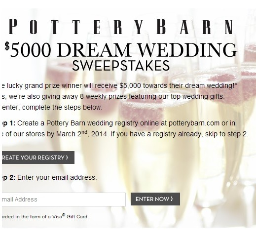the pottery barn $ 5000 dream wedding sweepstakes to make your wedding