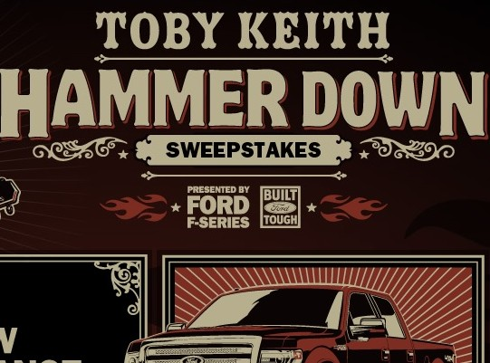 Toby Keith Hammer Down Sweepstakes Win A Truck