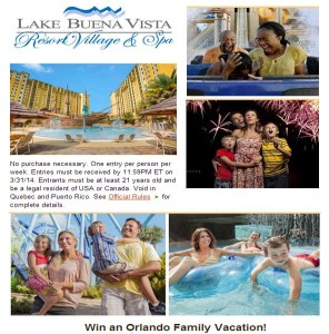 Win a Orlando Family Vacation Lake Buena Vista Resort Village and Spa