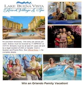 Win a Orlando Family Vacation Lake Buena Vista Resort Village and Spa