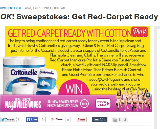 Ok! Magazine Cottonelle sweepstakes