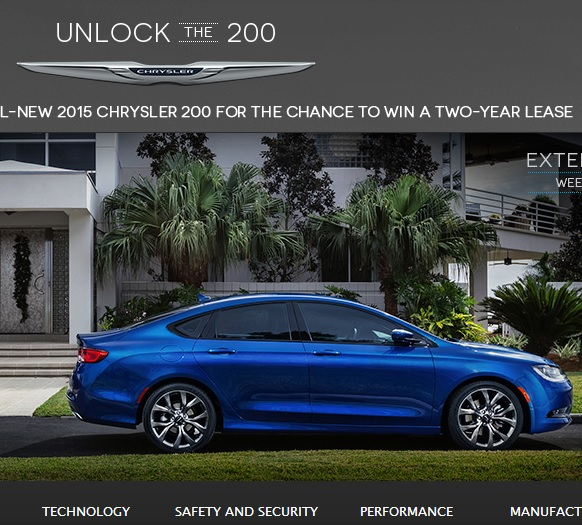 Lease A Chrysler: Chrysler Unlock The 200 Sweepstakes