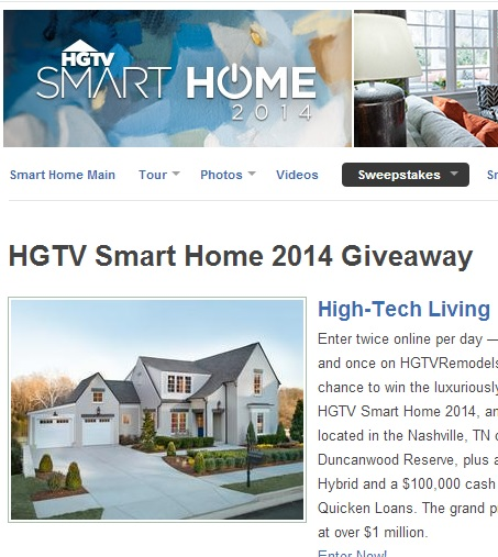 Enter the HGTV Smart Home 2014 Giveaway