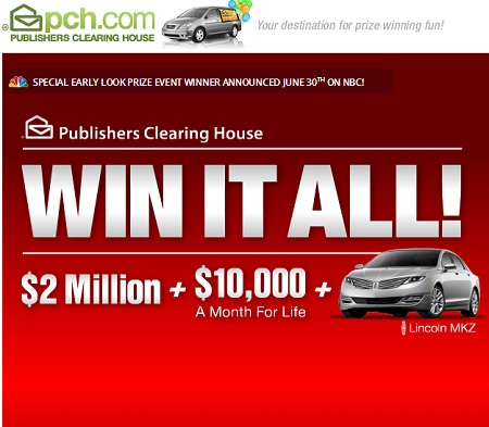 PCH Win it All Sweepstakes $10,000 a month for Life - Sweeps Maniac