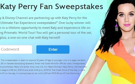 Radio disney sweepstakes katy perry codeword