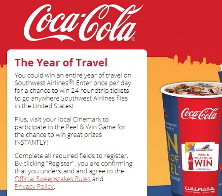 Coca Cola The Year of travel Sweepstakes