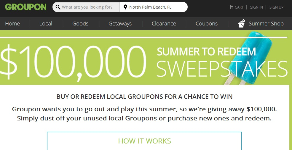 Groupon Summer to Redeem Sweepstakes - Sweeps Maniac