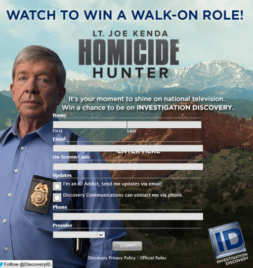 Investigation Discovery Homicide Hunter Sweepstakes Code